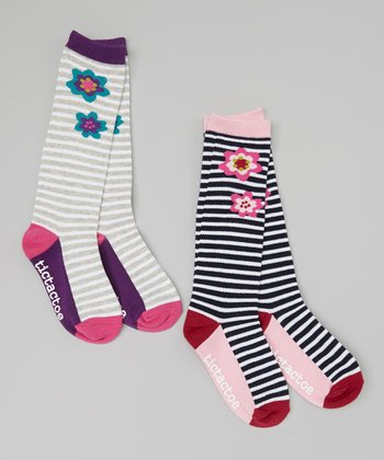 Navy & Gray Stripe Flower Knee-High Socks Set