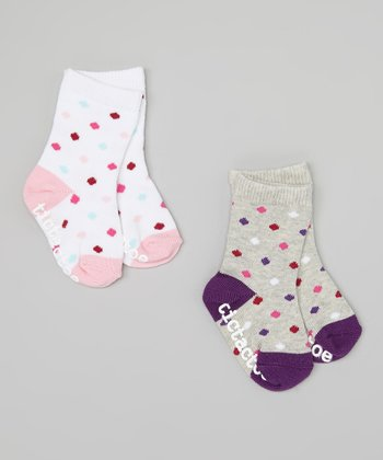 White & Gray Polka Dot Socks Set - Infant