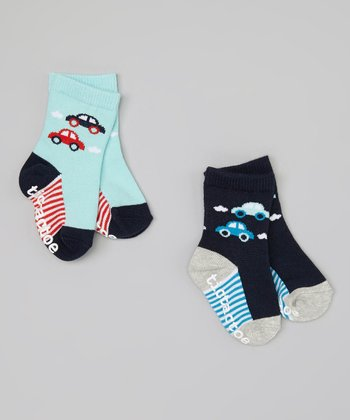 Teal & Navy Car Socks Set - Infant