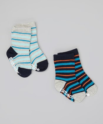 Teal & Navy Stripe Socks Set - Infant
