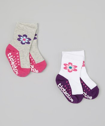 White & Gray Flower Socks Set - Infant