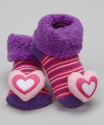 Purple & Pink Heart Bootie - Infant