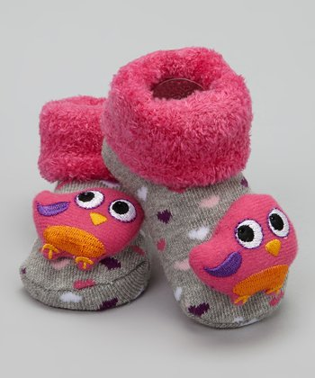 Pink & Gray Bird Bootie - Infant