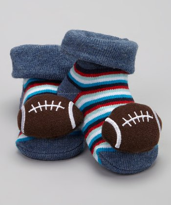 Brown & Blue Football Bootie - Infant
