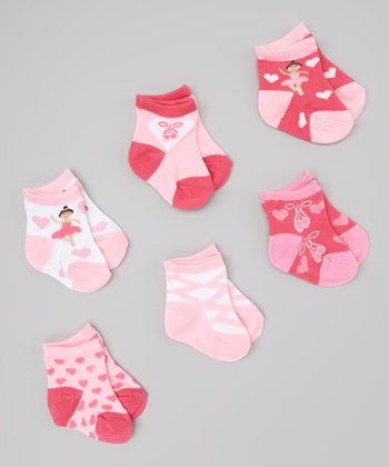Pink & White Ballerina Socks Set
