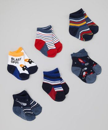 Blue & Red Rocket Socks Set - Infant & Toddler