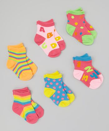 Pink & Green Alphabet & Numbers Socks Set