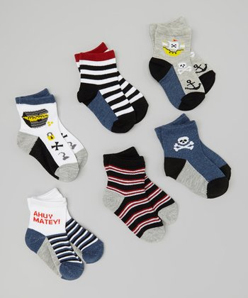 Navy & Gray Pirate Ship Socks Set