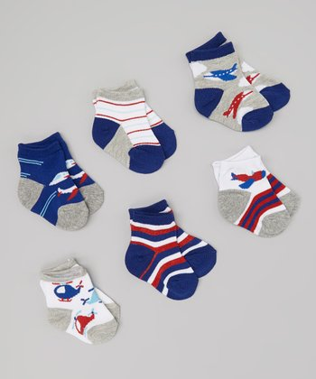 Navy & Red Helicopter Socks Set - Infant & Toddler
