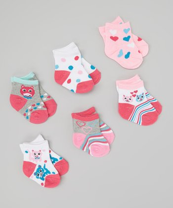 Pink & Blue Kitty Socks Set - Infant & Toddler