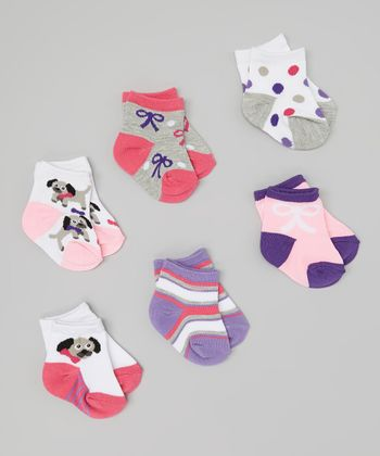 Pink & Purple Puppy Socks Set - Infant & Toddler