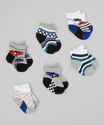 Blue & Gray Racecar Socks Set
