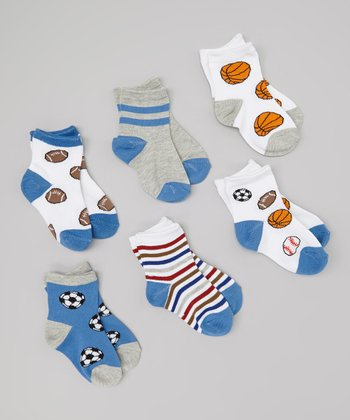 White & Blue Sport Socks Set - Infant & Toddler