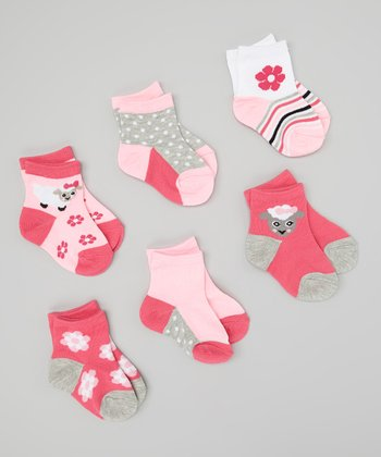 Pink & White Spring Lamb Socks Set