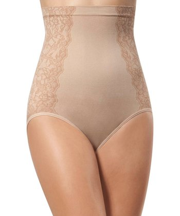 Tan Lace Side High-Waisted Shaper Brief - Women