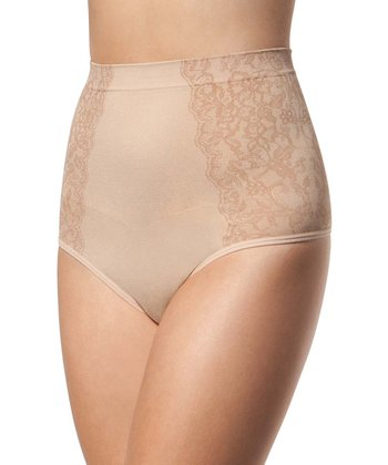 Tan Lace Side Shaper Thong - Women