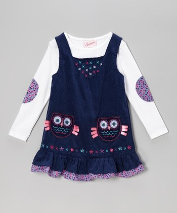 White Top & Blue Owl Corduroy Jumper - Toddler & Girls