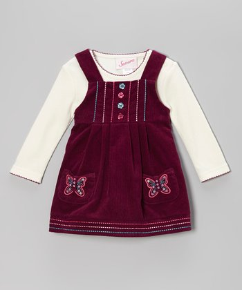Burgundy Butterfly Corduroy Jumper & Cream Top - Girls