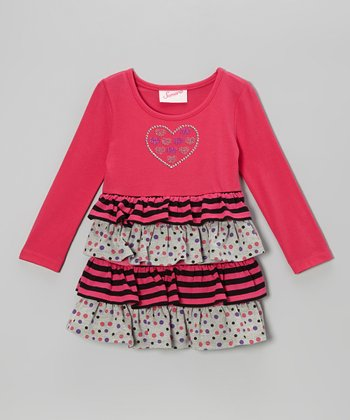 Pink Heart Tiered Dress - Infant