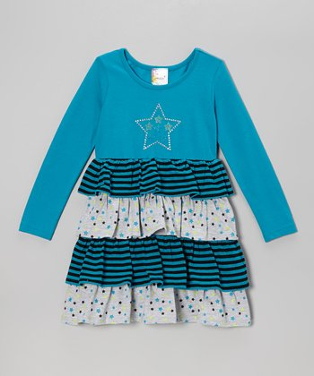 Turquoise Star Tiered Dress - Infant