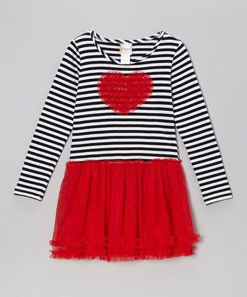 Red Stripe Heart Mesh Dress & Diaper Cover - Infant