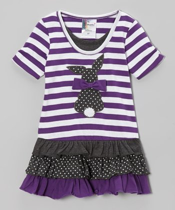 Lavender Stripe Bunny Dress - Infant & Toddler