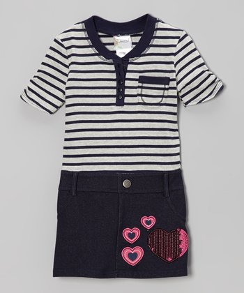 Heather Gray & Denim Blue Heart Dress - Infant