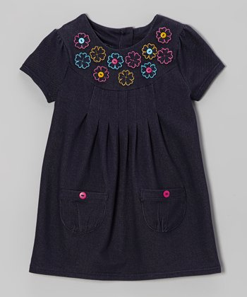 Denim Blue Rosette Dress - Infant & Toddler