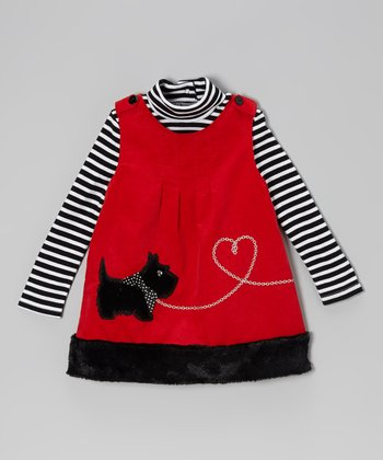 Black Stripe Turtleneck & Red Scottie Jumper - Infant & Toddler