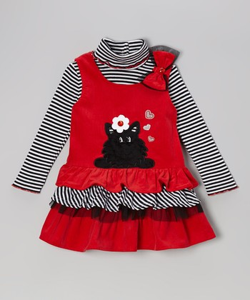 Black Stripe Turtleneck & Red Ruffle Jumper - Infant & Toddler