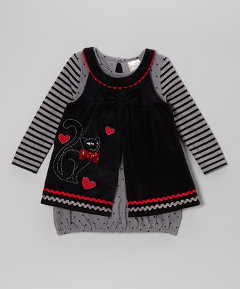 Gray Stripe Gown & Black Cat Jumper - Infant & Toddler