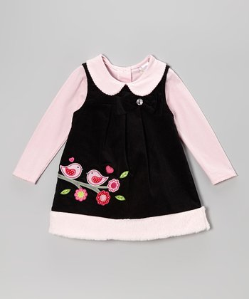 Pink Collared Top & Black Bird Jumper - Infant