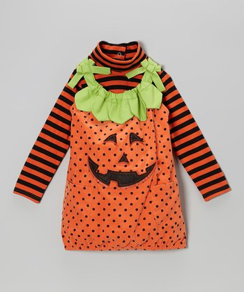 Orange Stripe Turtleneck & Pumpkin Jumper - Infant & Toddler