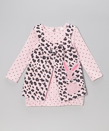 Pink Dot Gown & Leopard Bunny Jumper - Infant & Toddler