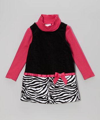 Pink Turtleneck & Black Zebra Jumper - Infant & Toddler