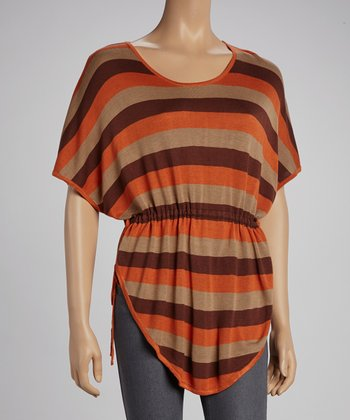 Rust Stripe Cape-Sleeve Top