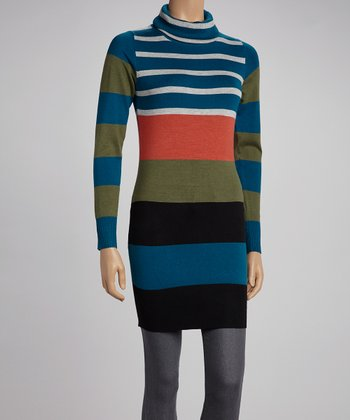 Teal Stripe Turtleneck