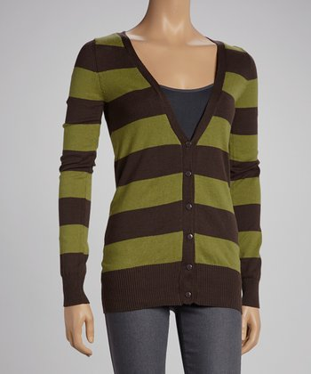 Coffee & Sage Stripe Cardigan