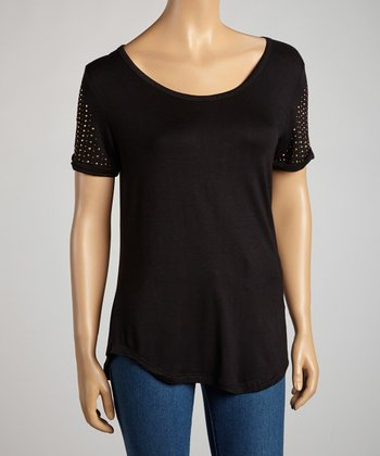 Black & Gold Studded Short-Sleeve Top