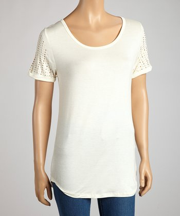 Ivory & Gold Studded Short-Sleeve Top