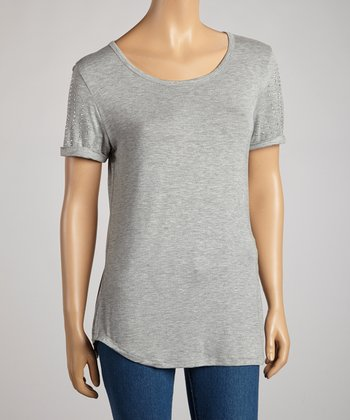 Heather Gray & Silver Studded Short-Sleeve Top