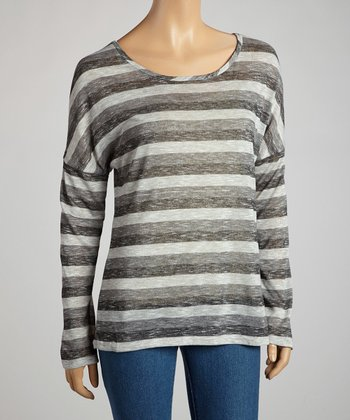 Charcoal Heathered Stripe Long-Sleeve Top