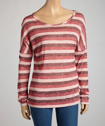 Dark Burgundy Heathered Stripe Long-Sleeve Top