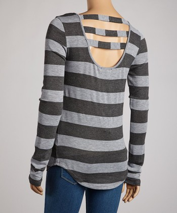 Charcoal & Heather Gray Stripe Vent-Back Top