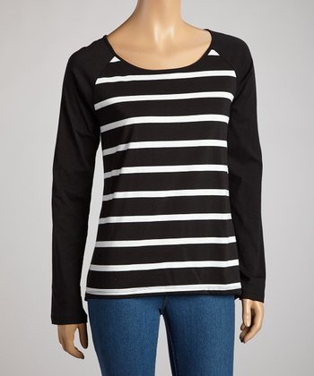 Black & White Stripe Long-Sleeve Top