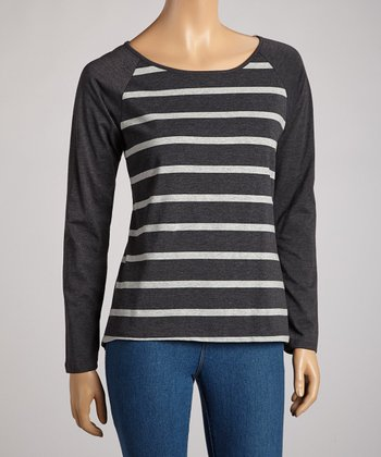 Charcoal & Heather Gray Stripe Long-Sleeve Top