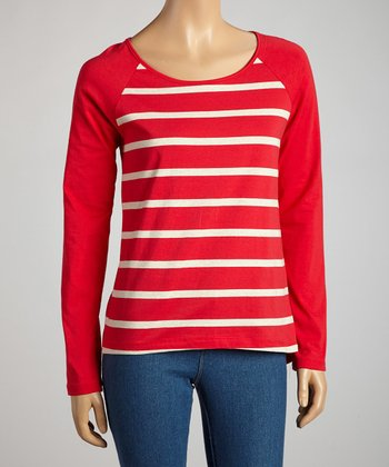 Red & Heather Beige Stripe Long-Sleeve Top