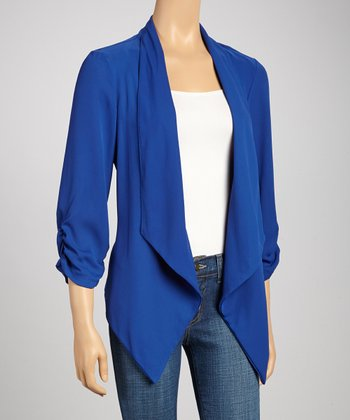 Royal Blue Ruched Open Cardigan