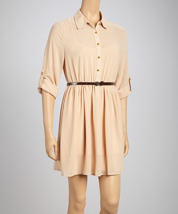 Khaki Belted Shirt Dress