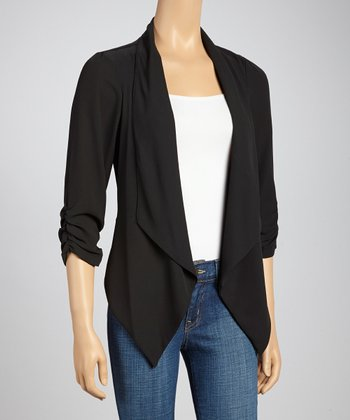 Black Ruched Open Cardigan